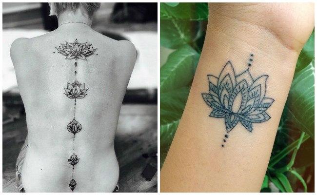 Flor de loto tatuaje para mujeres