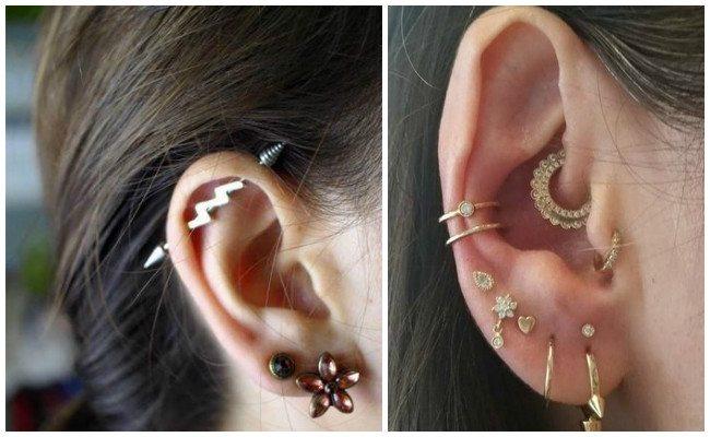 Piercing en la oreja infectado