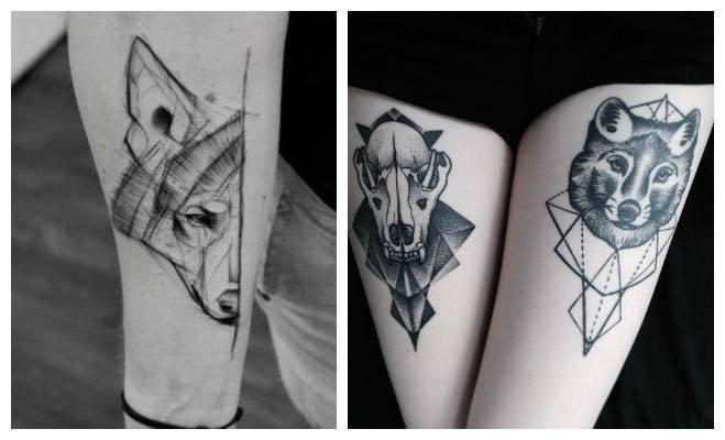 Tatuajes geométricos de lobos con líneas
