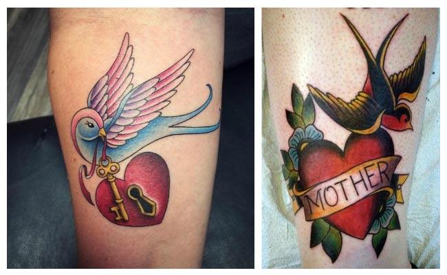 Tattoo de golondrina con corazón