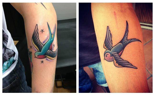 Tattoo de golondrinas a color