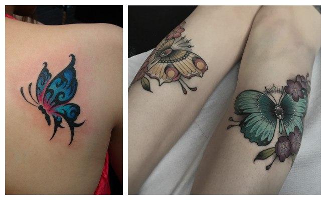 Tatuaje a color de mariposas