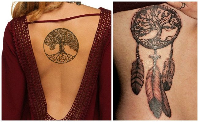 Tatuaje árbol de la vida con letras
