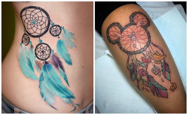 Tatuajes de atrapasueños indios con plumas