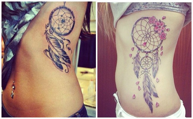 Tatuajes de atrapasueños para mujeres en el pie