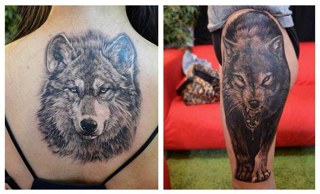 Tatuaje de una cara de lobo de frente