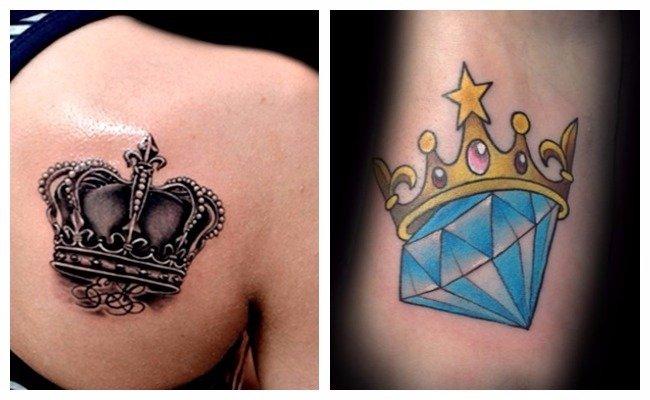 Tatuaje de corona con diamante