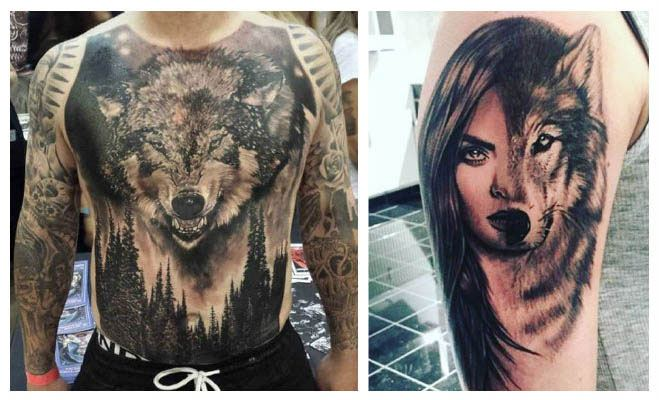Tatuaje de lobo mujer