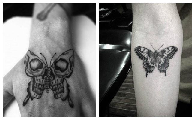Tatuaje de mariposa con calavera