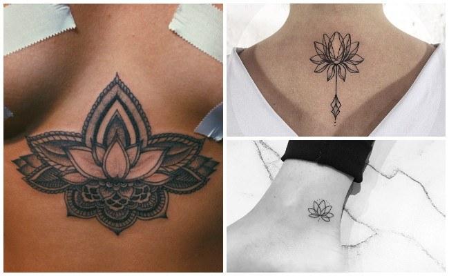 Tatuaje de flor de loto en mandala