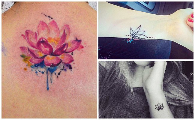 Tatuaje de flor de loto mujer