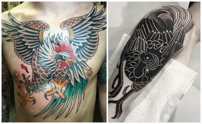 Tatuaje de gallo tradicional