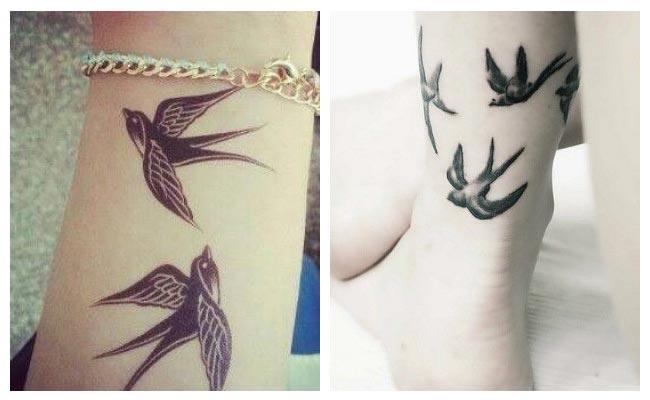 Tatuaje de golondrina siluetas