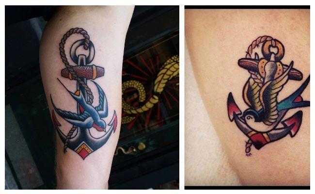 Tatuaje de golondrinas con anclas