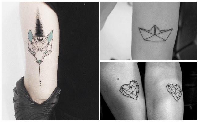 Tatuaje de león geométrico