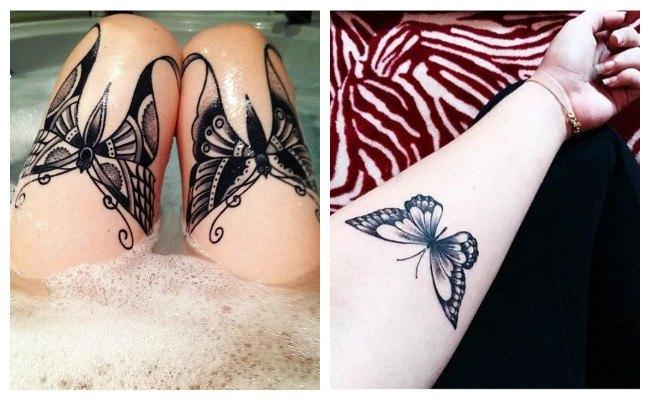 Tatuaje de mariposas para mujeres en la pierna y el brazo