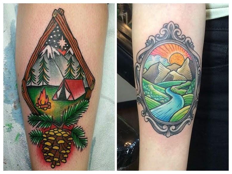 Tatuaje de montaña y mar