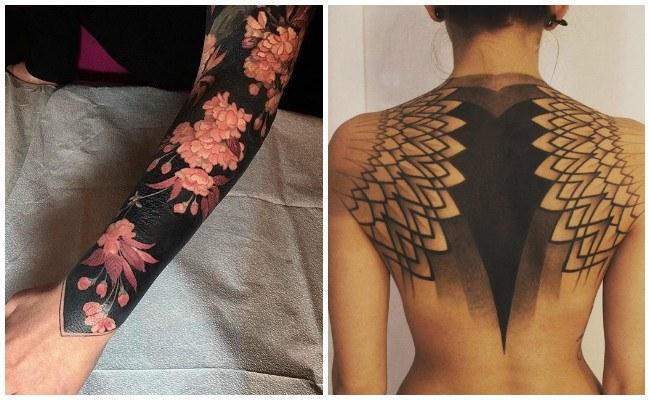 Tatuaje negro sombreado