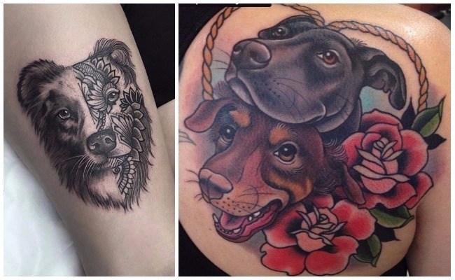 Tatuaje de perro american stanford