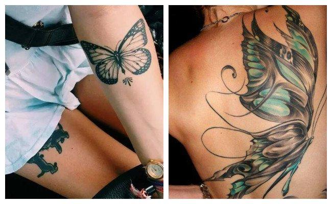 Tatuaje realista de mariposas a color