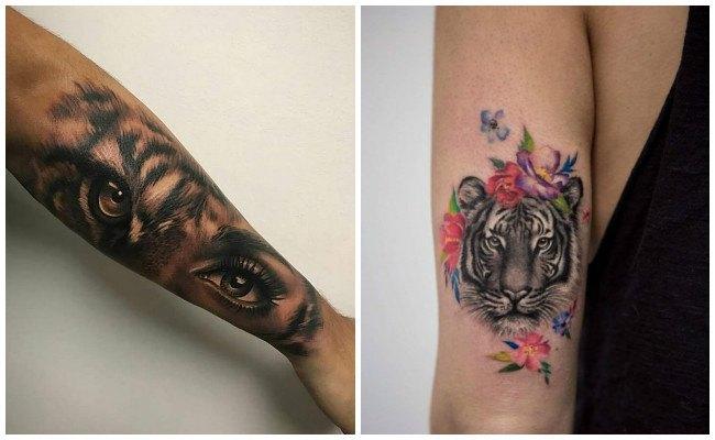 Tatuaje de tigre en la espalda