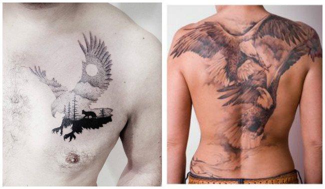 Tatuajes de águilas con letras