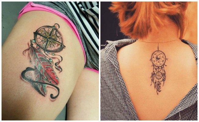 Tatuajes de atrapasueños indios en la espalda