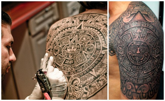 Tatuajes aztecas en el antebrazo