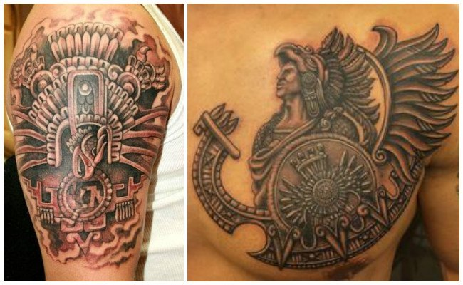 Tatuajes de brazaletes aztecas en el antebrazo