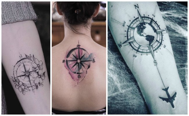Tatuajes de brújulas a color