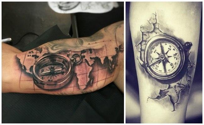 Tatuajes brújulas en old school