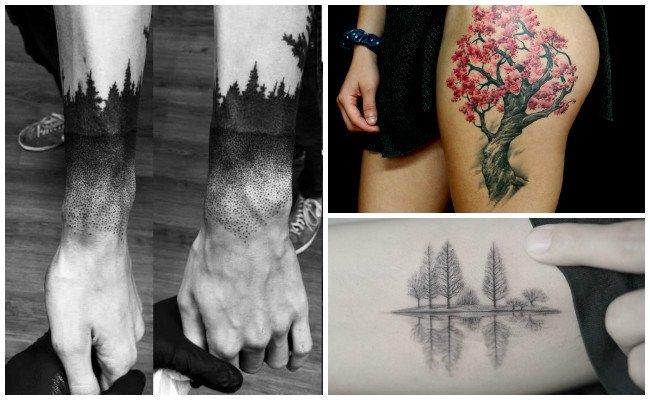 Tatuajes de árboles y aves
