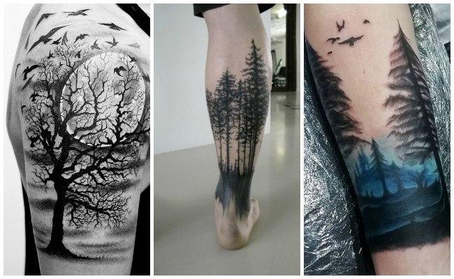 Tatuajes de árboles en la pierna