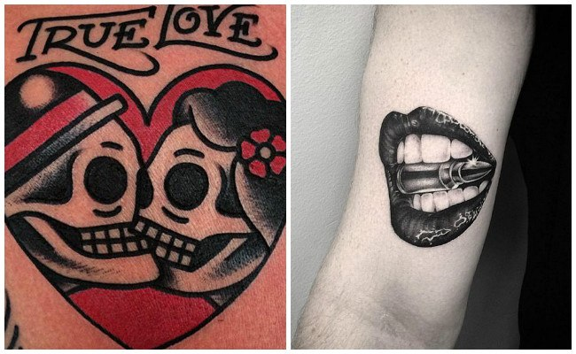 Tatuajes de besos con nombres
