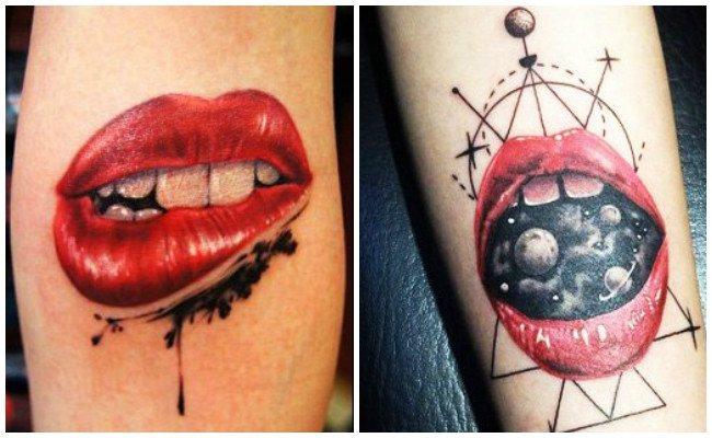 Tatuajes de besos en el abdomen