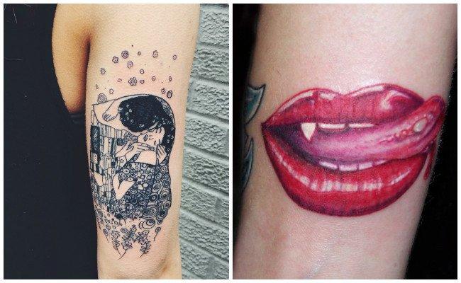 Tatuajes de besos en la muñeca