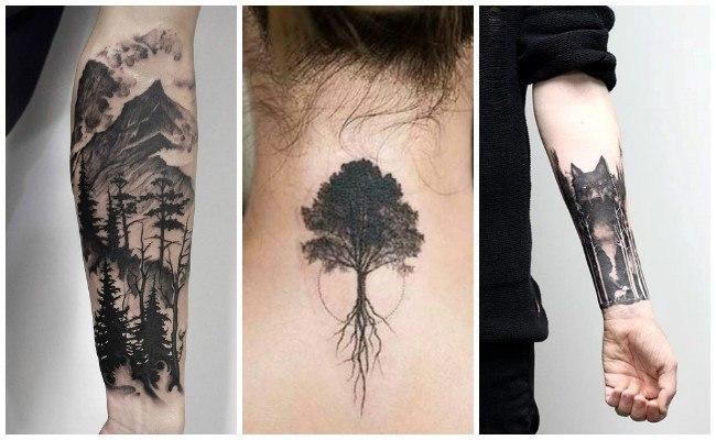 Tatuajes de bosques en el antebrazo