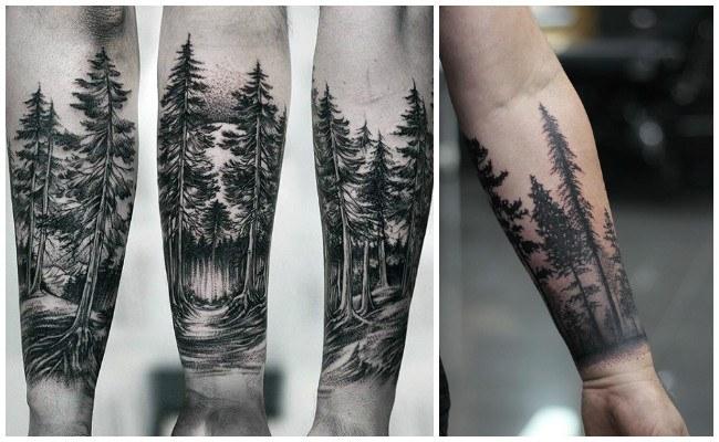 Tatuajes de bosques en la espalda