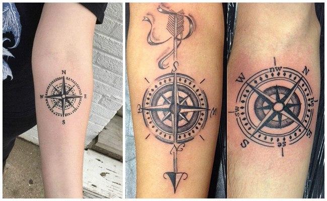 Tatuajes de brújulas en al antebrazo