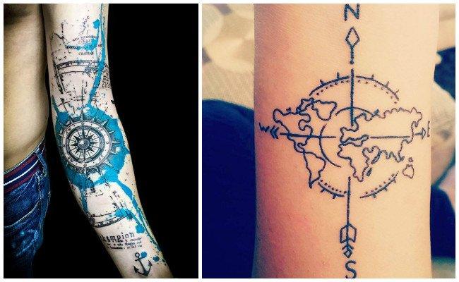 Tatuajes de brújulas y calaveras