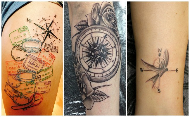 Tatuajes de brújulas y flores