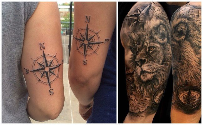 Tatuajes de brújulas en el hombro