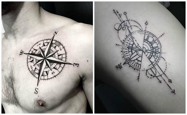 Tatuajes de brújulas con plumas