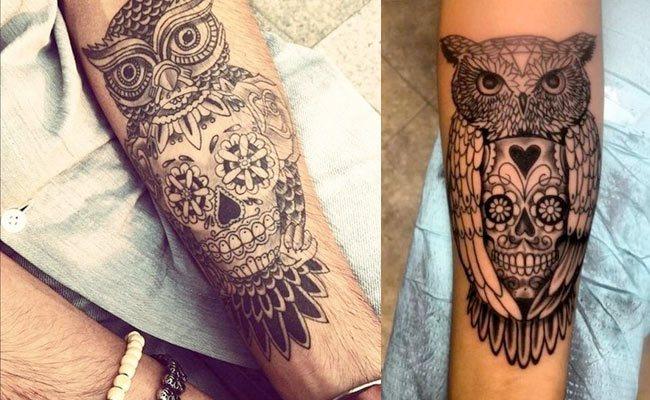tatuajes de buho calavera