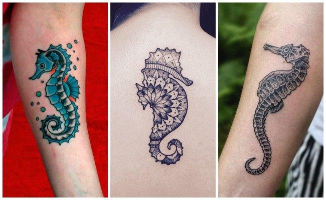 Tatuajes de caballitos de mar en el antebrazo