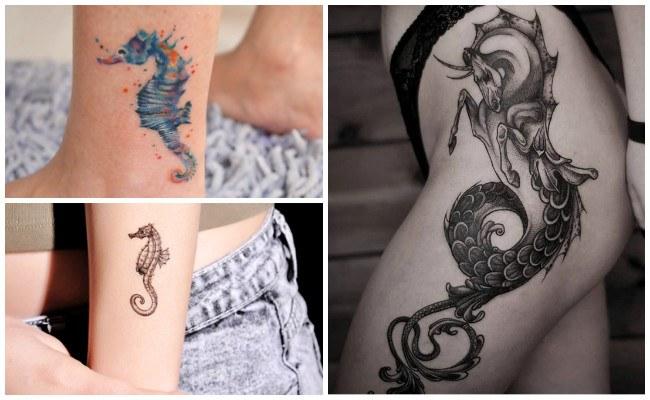 Tatuajes de caballitos de mar en la cadera