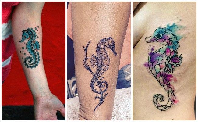 Tatuajes de caballitos de mar en las costillas