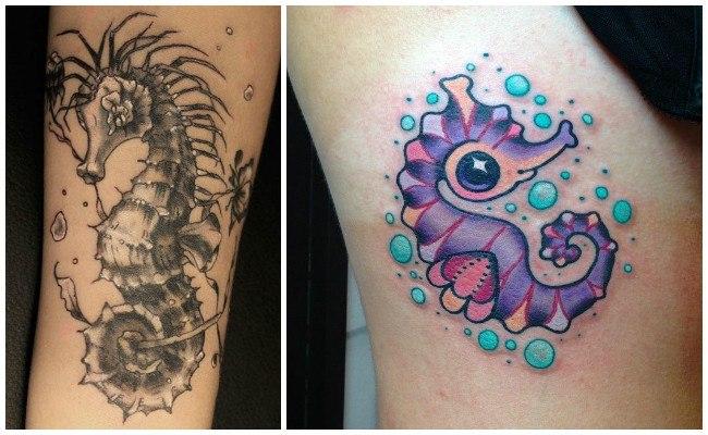 Tatuajes de caballitos de mar en la espalda