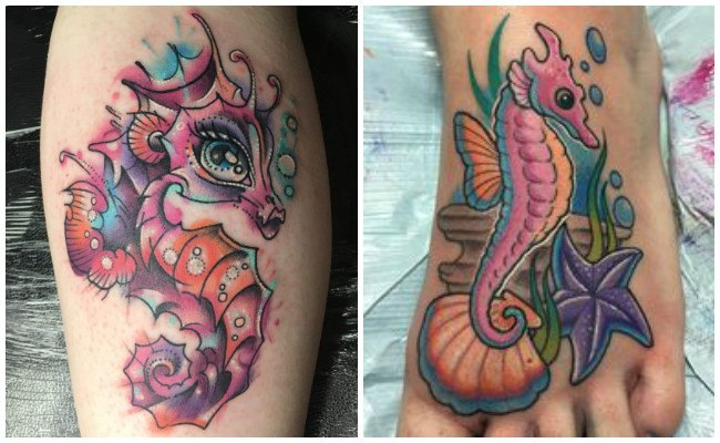 Tatuajes de caballitos de mar en el pie