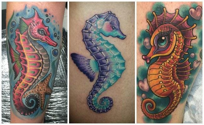 Tatuajes de caballitos de mar en el tobillo